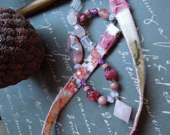 Shabby Chic Pink Fabric Necklace with Rose Quartz Diamond Pendant
