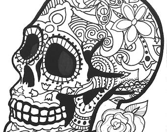 10 MORE Sugar Skull Day of the Dead Original Art Coloring Book pages for Adults: dias de los muertos, Coloring Pages for Adults, Printable