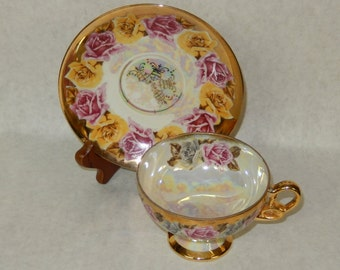 Royal Sealy Teacup and Saucer Pink and Yellow Floral Pattern Made is Japan