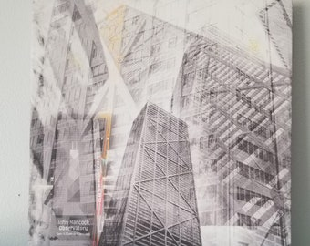 """Chicago 13"""" Canvas Wall Art - Hancock Building Photo Collage"""