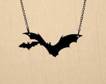 Small Bat Necklace - Laser Cut Necklace (C.A.B. Fayre Original Design)