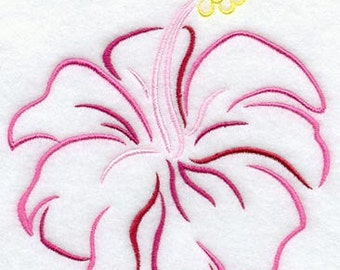 Tropical Hibiscus Embroidered Flour Sack Hand/Dish Towel