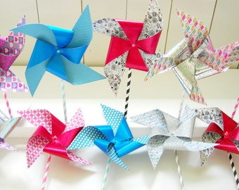 Paper pinwheels 17 pieces. Glitter and glossy paper. Marriage-Birth, children's party