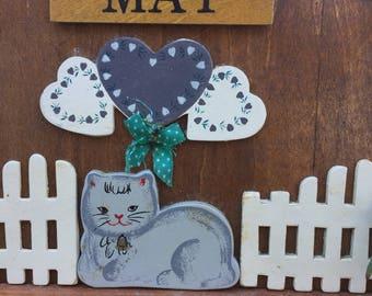 Vintage Hand Painted Wooden Cat Perpetual Calendar