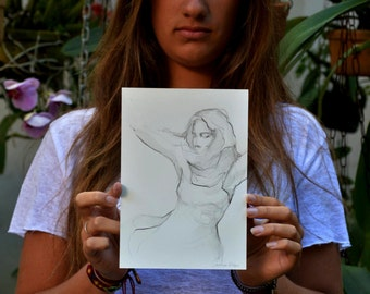 Original female drawing, pencil drawing, sketch, movement art, drawings, female art,dancer art, watercolor pencil, art by Cristina Ripper