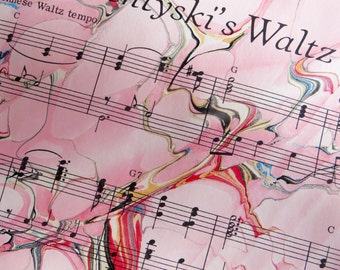 Sventsyski's Waltz - hand marbled vintage sheet music