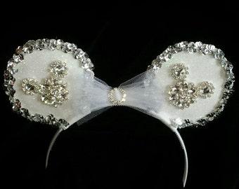 White, Silver, & Rhinestone Mouse Ear Headband - wedding headpiece
