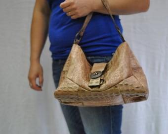 Vintage Leather Handbag , Aligator pattern...(279)