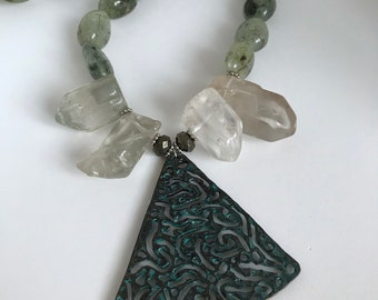 Nephrite Jade and Quartz Necklace