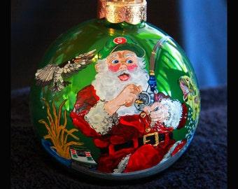 Hand bemalt Ornament - Santa Fischerei-Artikel 208