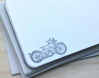 vintage inspired flat note cards and envelopes, stationery set, harley davidson, vintage motorcycle, a2, set of 10