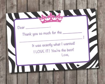 Princess Themed Fill In Thank You Cards