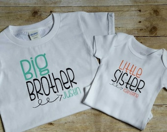Personalized big brother, little sister shirts, sibling shirt, brother sister shirts, matching shirt sets