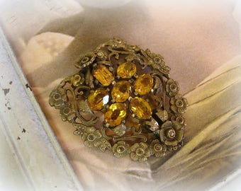antique edwardian nouveau rhinestone dress clip beautiful floral brass setting tiny marcasites prong set topaz rhinestones
