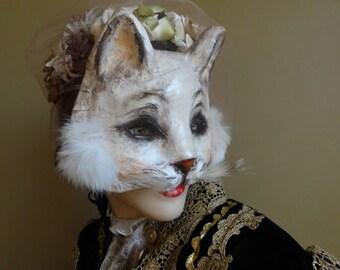 True Romance Paper mache White cat mask cat costume