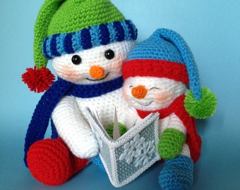 PDF CROCHET PATTERN for Reading Snowman (English only)