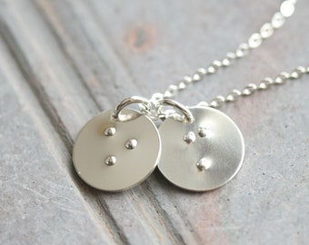 Simply Stated Braille Initial Necklace in Sterling Silver - 2 Personalized 1/2 Inch Disc