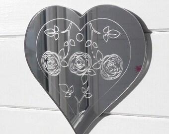 Triple Rose Engraved Heart Acrylic Mirror