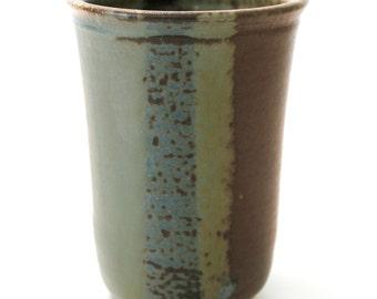 Stoneware Pottery Vase. Wood Fired. Medium. Rich Earth Tones. Brown. Khaki Green. Teal Green. Tan. Gray Green. Chocolate Brown. Rustic. OOAK