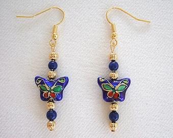 Papillon bleu boucles d'oreilles bijoux faits main Cool cadeaux bijoux chinois cloisonné boucles d'oreilles jolie cadeaux pour elle cadeaux pour femme cadeaux moins de 15 ans