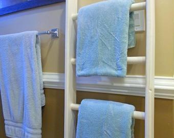 Distressed Decorative 5ft Ladder Towel Rack Ladder Rustic Wooden Farmhouse Quilt/Blanket Ladder 5' Ladder
