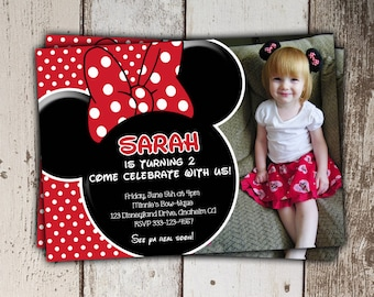 Red Minnie Mouse Invitations with photo (other colors/styles available) - Birthday Invitations - print yourself JPG