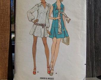 "Vintage 60's ""BUTTERICK SEWING PATTERN 5774"" Mini Dress Low Waistline Size 11 Bust 34"