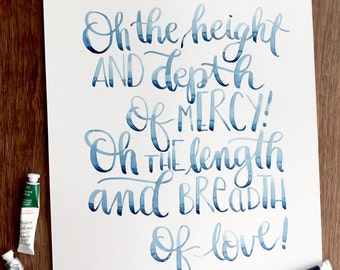 Printable Watercolor Art, Oh the Height and Depth of Mercy! Hymn Art, Inspirational, Watercolor