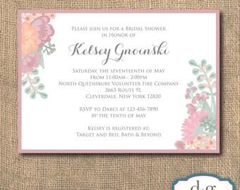 Bridal Shower Invitation, Wedding Invitation, Garden Party, Garden, Flowers, Floral Bridal Shower Invitation, 5x7, PRINTABLE