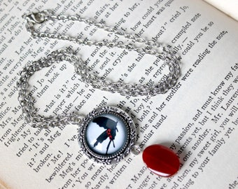 Dark Butterfly Cabochon Silver Necklace with Carnelian Bead - Victorian Vintage Style