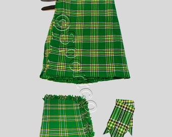 Irish Green Tartan Kilt 8 Yards Package