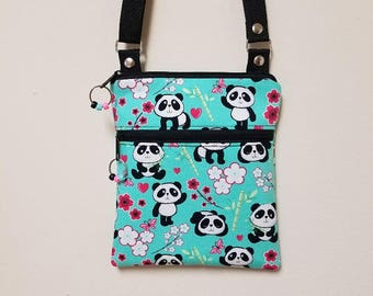"Panda Bear Crossbody Purse, Panda Shoulder Purse, Small Panda Purse, Crossbody with Panda Bear, 68"" Adjustable Shoulder Strap, Nylon Lining."