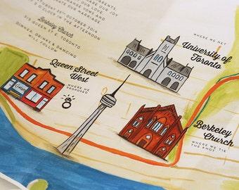 DIY custom map wedding invitation - hand painted - custom landmarks - PRINTABLE