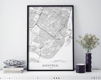 Montreal, Canada Art, City Map Print Wall Art | A4 A3 A2