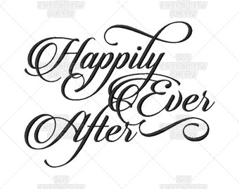 Happily Ever After, Calligraphy, Wedding, Script, Ring Bearer, Quote, Marriage Saying, Machine Embroidery, ring bearer pillow, craft idea