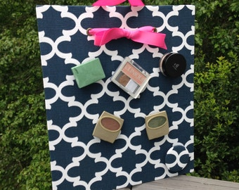 Makeup Organizer, Magnetic Makeup Organizer, Sorority Sister Gift, Navy Quatrefoil, Magnetic Board, Magnet Board, Makeup Storage