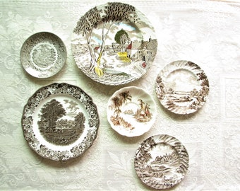 Vintage plate set Wall decor Wall hanging Mismatched plate set Brown Scenic Plates Farmhouse Decor Country decor Cottage wall decor