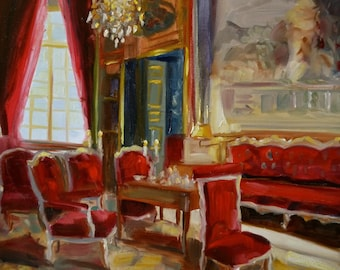 RED ROOM ~ Art Print of Original Oil Painting by Cecilia Rosslee, French Sitting room, red chairs, gilded furniture,red drapes, chandelier