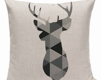 Decorative throw pillow case nordic deer cushion cover with insert home decor black and white geometrical shapes housewarming gift