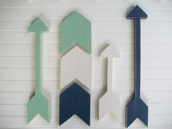 Nursery Arrow Set . Wooden Arrows . Arrow Decor . Chevron Arrows  .Tribal Kids . Navy Mint . Tribal Nursery . Painted Arrow . Arrows