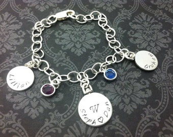"""hand stamped jewelry- personalized jewelry- charm bracelet-spinning charms- family- names and birthstones- """"established in"""" jewelry"""