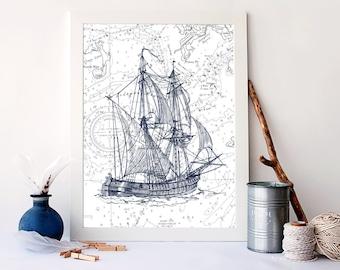 Vintage ship print, nautical nursery decor, Nautical Art Print, Vintage Nautical, Ocean Art Print, sailboat print, ship wall decor, A-1050