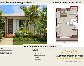49 Nikara 49 m2 |  1 Bedroom home design - Concept House Plans For Sale