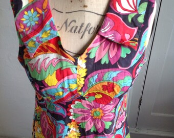 1960s psychaedelic print shift dress size 10/12