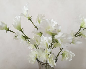 Artificial sweet pea etsy white sweet pea silk flower bush artificial faux silk wedding flowers 22 mightylinksfo Gallery