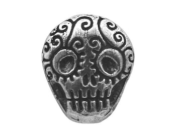 Green Girl Skull 3/4 inch ( 19 mm ) Pewter Metal Button