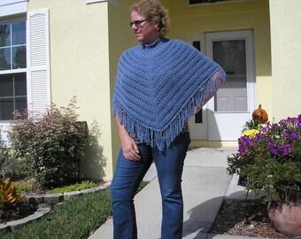 Knitted Ladies Poncho - Denim 100% Cotton