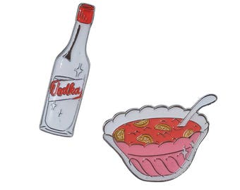 Spiking the Punch Vodka and Punch Party lapel pin set