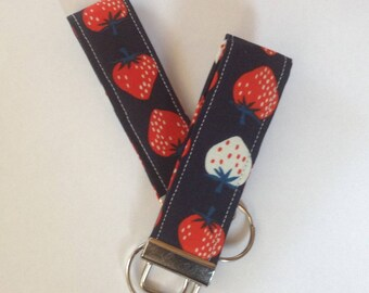 wristlet Key fob keychain fob wristlets key fob key ring women's girls accessories teachers gift strawberry designer fabric