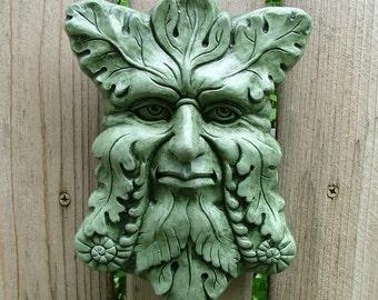 Concrete Greenman Plaque (Moss) Garden Sculpture
